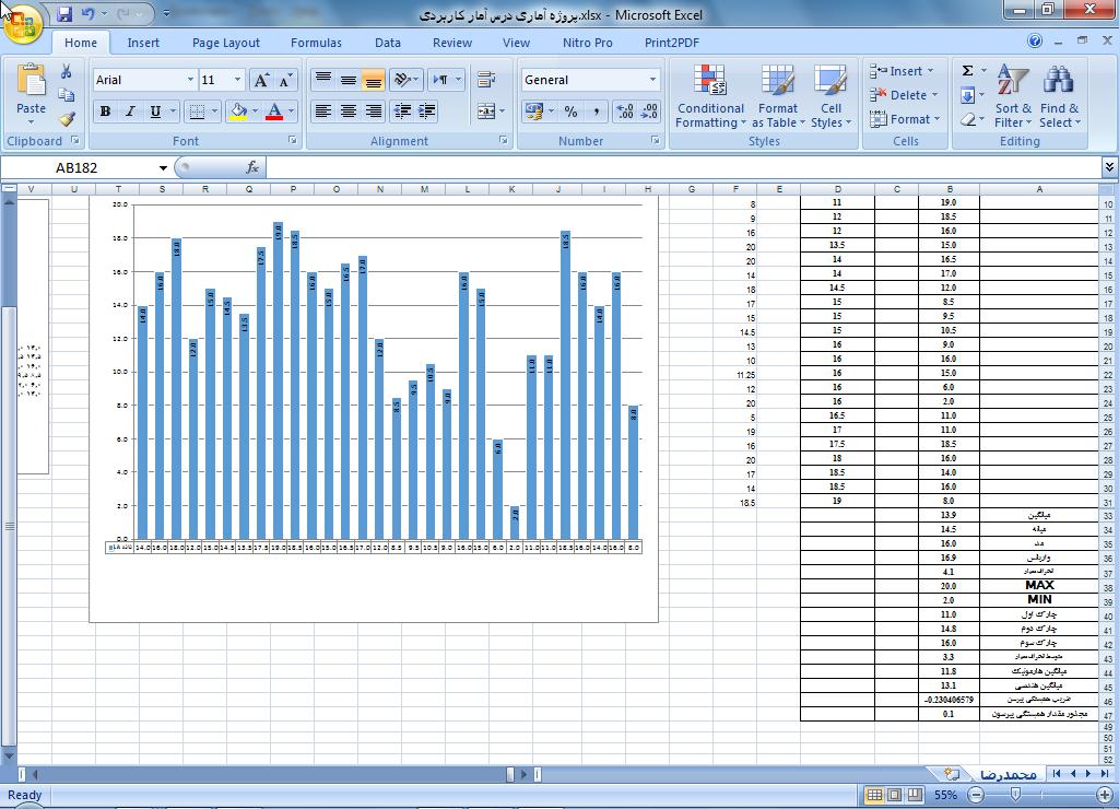 <span>دانلود پروژه آماری اکسل درس آمار کاربردی</span>