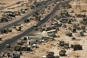 بزرگراه مرگ عراق ، حمله جت های آمریکایی به سربازان عراقی