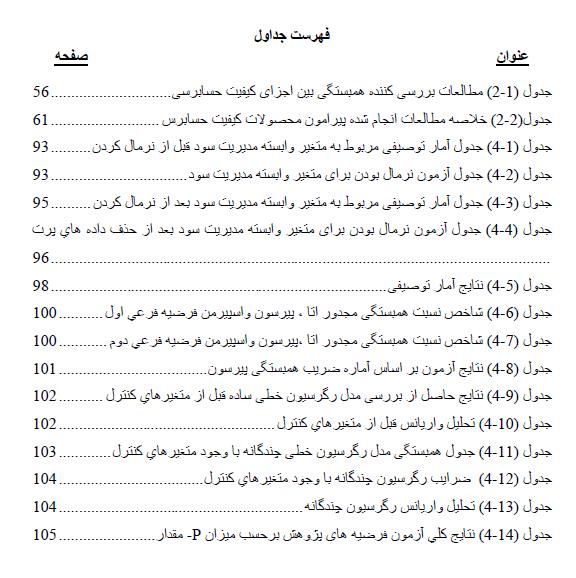 فهرست جداول
