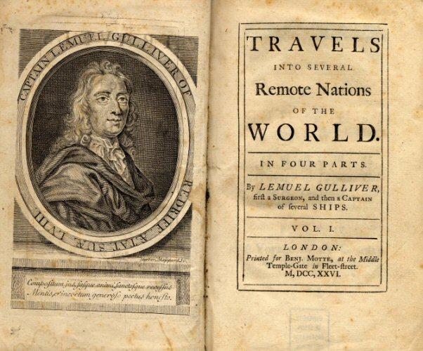 <span>کتاب ماجراها و سفرهای گالیور با عنوان سفرهایی به برخی ممالک دور افتاده جهان</span>