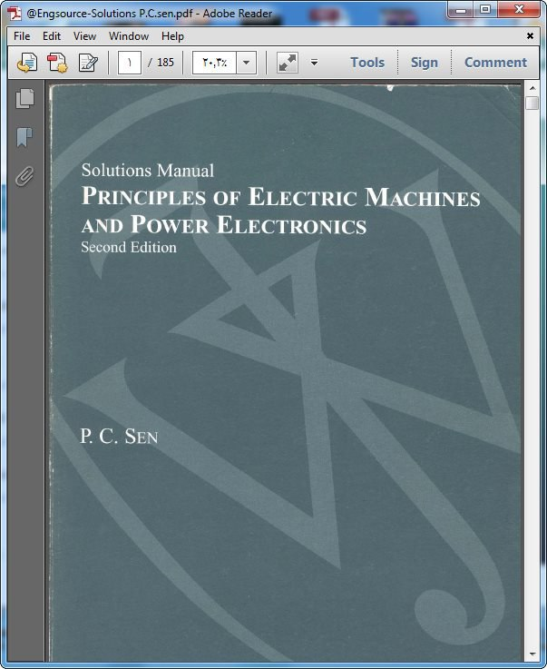 دانلود کتاب حل المسائل ماشین های الکتریکی پی سی سن p.c.sen