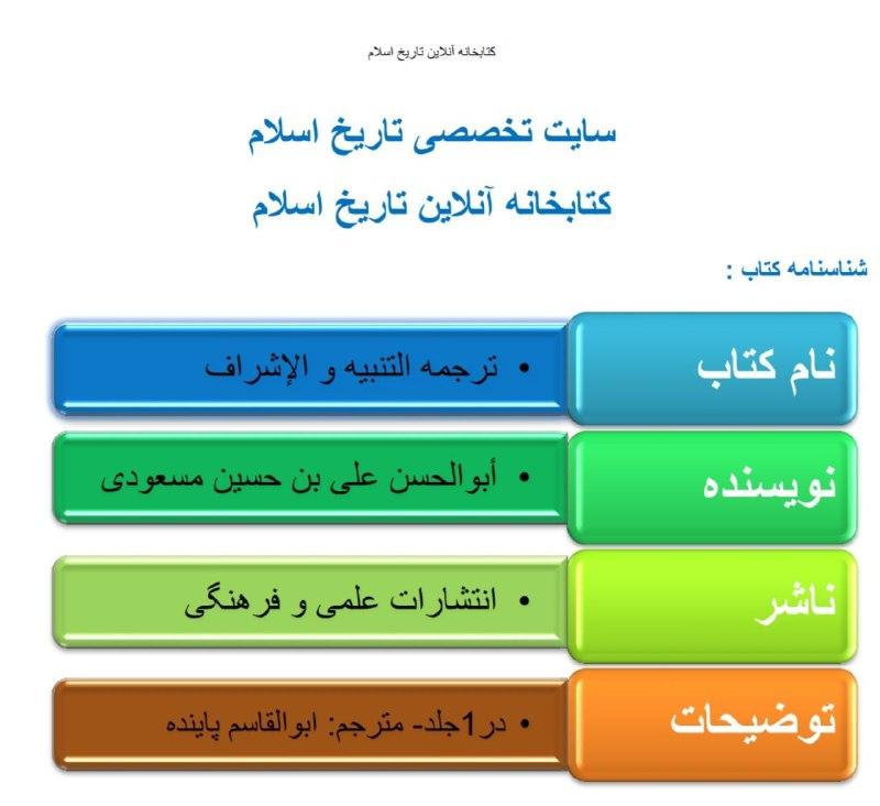 دانلود کتاب ترجمه التنبیه و الاشراف