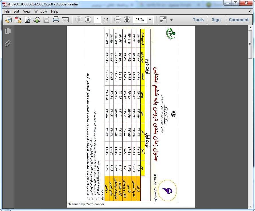 <span>بودجه بندی دروس کلاس ششمی ها</span>